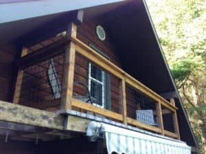 re-purposed fence grid for deck railing